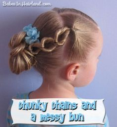 Chunky Chains & Bun - Topsy Tail Hairstyles | BabesInHairland.com #topsytail #flippedponytail #hair #hairstyles