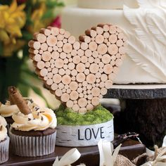 Rustic Heart Wedding Cake Top