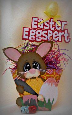 ELITE4U SCRAPPINWMN PREMADE HANDMADE SCRAPBOOK EASTER TREAT HOLDER PAPER PIECING