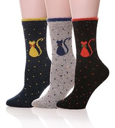EBMORE Womens Animal Pattern Cute Warm Soft Wool Winter Socks 3 Pack BlackBlueGrey ** Check out the image by visiting the link.