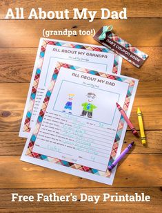 All-About-My-Dad free Father's Day printable Dad N Me, My Dad, Father's Day Printable, Free Printables, Fathers Day Crafts, Gifts For Father, Father's Day Diy, Gifted Kids, Presents For Dad