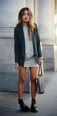 Green blazer and skirt