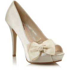Ivory Satin High Heel Court Shoes With Bow Trim ($49) ❤ liked on Polyvore