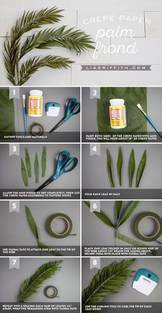 These crepe paper palm fronds look and feel crazy real! We'll share our new technique that is changing the paper flower game. These crepe paper palm fronds look and feel crazy real! We'll share our new technique that is changing the paper flower game. Paper Flowers Craft, Crepe Paper Flowers, Felt Flowers, Flower Crafts, Diy Flowers, Fabric Flowers, Wedding Flowers, Origami Flowers, Crepe Paper Decorations