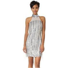 Parker Parker Black Denise Dress ($520) ❤ liked on Polyvore featuring dresses, silver, mini dress, sequin mini dress, 1920s beaded dress, fringe dresses and sequin fringe dress
