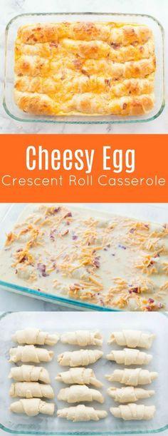 Cheesy Egg Crescent Roll Casserole Recipe -- Family Fresh Meals #breakfast #casserole #crescentroll
