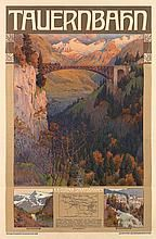 GUSTAV JAHN (1879-1919). TAUERNBAHN. 1905. 43x31 inches, 110x80 cm. K.K. Hof, Vienna.