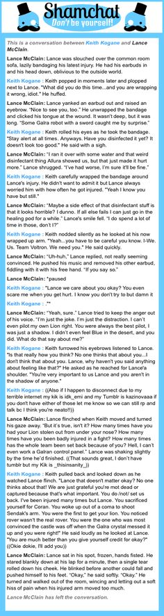 A conversation between Lance McClain and Keith Kogane (just posting it to remember how the roleplay went for future reference).