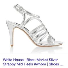 WHBM Silver Strappy Shoes Sz 7.5 Beautiful silver mid strappy shoes from White House Black Market. Worn once. Excellent condition with one extremely small flaw as shown in third picture. White House Black Market Shoes Heels