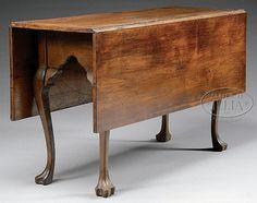 QUEEN ANNE WALNUT DROP LEAF TABLE. - by James D. Julia