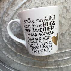 Only An Aunt Coffee Mug  Hand Painted Mug  by MorningSunshineShop