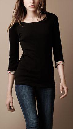 Burberry Check Cuff Jersey T-Shirt