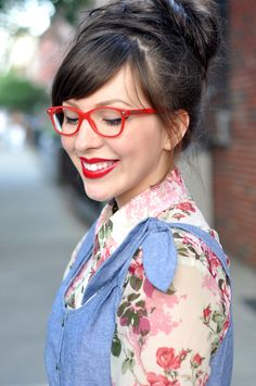Versace Eyeglass Frames VE3153 942-5316 - Red MODEL: 942-5316 worn by Keiko Lynn. I want these!