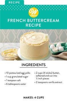 Creamy and custardy, this delicious French Buttercream is made using pasteurized egg yolks and sugar. Find ingredients and instructions at Wilton! Food Cakes, Cupcake Cakes, Icing Cupcakes, Baking Cakes, Mocha Cupcakes, Banana Cupcakes, Gourmet Cupcakes, Strawberry Cupcakes, Velvet Cupcakes