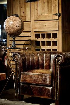 The waterfall tufting & nailhead detailing on this rich leather chair evoke the feeling of a gentleman's library or lounge. On Sale from $1495.00 for $995.00
