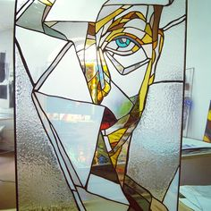Stained glass woman. Abstract glass portrait.