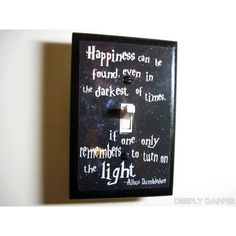 Harry Potter - Dumbledore Quote Jumbo Light Switch Plate - Happiness... ($10) ❤ liked on Polyvore