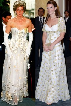 As the wife of the future King of England, The Duchess of Cambridge is bound to draw comparisons between herself and her husband's late mother, Diana, Princess of Wales. We look back at the times Kate Middleton paid sartorial tribute to her late mother-in Vestidos Kate Middleton, Kate Middleton Dress, Kate Middleton Style, Princess Diana Dresses, Princess Diana Photos, Princes Diana, Princess Diana Wedding, Princesa Kate Middleton, Princesa Mary