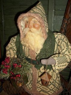 Santa Claus Figure Handmade Primitive Christmas , Antique coverlet One of a Kind