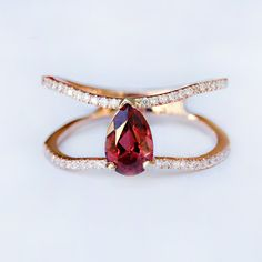 14kt gold and diamond Double Band Teardrop Floating Red Garnet ring – Luna Skye