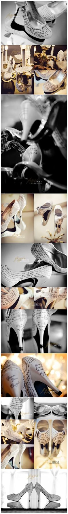 Almost didn't want to pin because I want them and no one else!!! Custom personalized wedding shoes, these ones have love letters from the bride and groom! UNREAL!!!!
