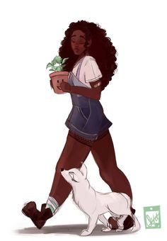 "septembersart: "" was feeling stressed so I drew Winter! I feel like she's the type of person to keep plants and give them names Reference for Ryu from here "" I love her art! Black Girl Art, Black Women Art, Black Girl Magic, Art Girl, Black Art, The Lunar Chronicles, Marissa Meyer Books, Arte Dope, Black Anime Characters"