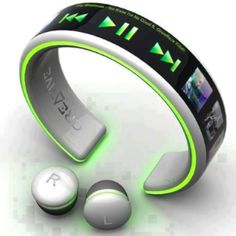 Mp3 wrist band and wireless head phones! This would be so great to workout in:)