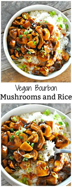 Vegan Bourbon Mushrooms and Rice Seared mushrooms tossed in a sticky, sweet Bourbon sauce. Served over rice. - Vegan Bourbon Mushrooms and Rice - Rabbit and Wolves Mushroom Recipes, Veggie Recipes, Whole Food Recipes, Cooking Recipes, Healthy Recipes, Recipes Dinner, Mushroom Rice, Lunch Recipes, Drink Recipes