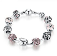 Antique 925 Silver Charm  Bracelet with Love and Flower Crystal Ball