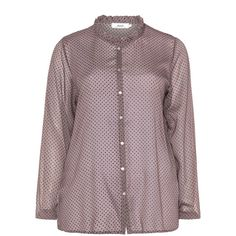 Zizzi Dusky-Pink / Black Plus Size Ruched collar polka dot blouse ($65) ❤ liked on Polyvore featuring tops, blouses, plus size, pink chiffon blouse, plus size evening blouses, polka dot chiffon blouse, long sleeve chiffon blouse and black blouse
