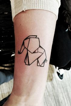 For all the love of animals, why not have some really cool yet meaningful Geometric animals tattoo done. You can thank us later For some of the cute and small cat and elephant tattoo designs. Origami Tattoo, Origami Elephant Tattoo, Elephant Tattoo Design, Geometric Elephant Tattoo, Foot Tattoos, Body Art Tattoos, Small Tattoos, Sleeve Tattoos, Trendy Tattoos
