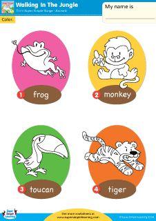 """Walking In The Jungle"" Animal Vocabulary Coloring Worksheet from Super Simple Learning. #preK #Kindergarten #ESL"