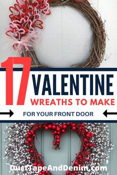 17 super cute and easy Valentine wreath ideas to make for your front door or anywhere else in your home. These are FUN DIY craft project ideas to make before Valentine's Day! Diy Valentines Day Wreath, Homemade Valentines, Valentines Day Decorations, Valentine Day Crafts, Printable Valentine, Valentine Box, Valentine Ideas, Fun Diy Crafts, Wreath Crafts