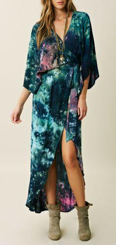 Tie Dye Wrap Dress