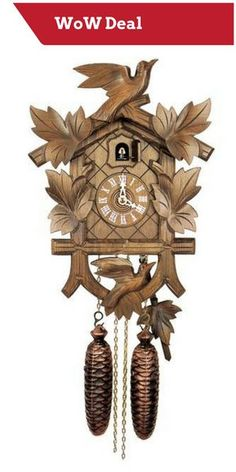 cuckoo clock seven leaves three birds and nest day movement  hubert herr 1 day bird and leaves cuckoo clock 801 8