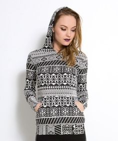 Another great find on #zulily! Black & White Snowflake Hoodie by Natalia Romano #zulilyfinds