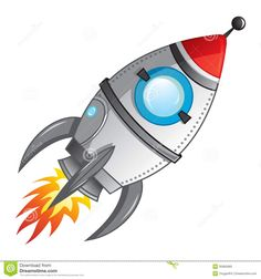 Comic Rocket Ship  Illustration of a cartoon retro red iron