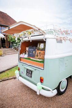 VW Camper Van Peaches Mint Stylish Floral Wedding http://www.sarahleggephotography.co.uk/