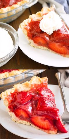 Jun 2019 - Fresh Strawberry Pie without Jello is bursting with natural flavor and so easy and quick to make from scratch. This simple but so delicious dessert recipe is always a hit especially when served with a big dollop of whipped cream on top! Easy Strawberry Pie, Fresh Strawberry Recipes, Strawberry Pie Recipe Without Jello, Strawberry Jam Tarts, Strawberry Cream Cheese Pie, Pancakes Weight Watchers, Tart Recipes, Cooking Recipes, Easy Desserts