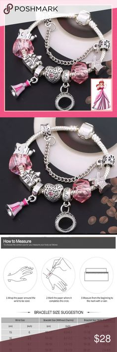 """Disney Princess Ariel Charm Bracelet Beautiful Disney Charms incl her tiara, dress, & faceted crystal/glass on a Tension Mounted """"Snake chain"""" bracelet Plated in 925 Silver, has a hidden safety clasp-perfect for the young ones!   Completely Environmentally friendly, both Lead & Nickel free as well as Allergy-Free. See Maintenance Info above. Size 21 mm+. Will fit most wrists. The more charms added the longer the bracelet, See Sizing Guide as reference  Pair with Zirconia Mickey Earrings for…"""