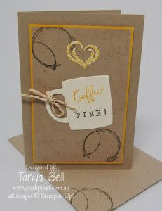 handmade card ... coffee theme kraft ... luv the stamped coffee ring stains contrasting with gold embossing ... Stampin' Up!