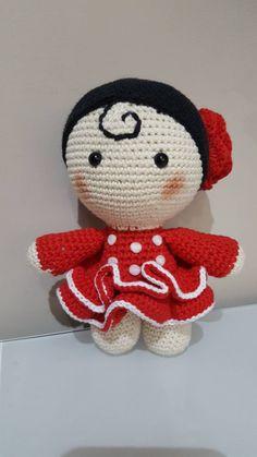 Muñeca Yo-yo flamenca, muñeca típica española, gitana crochet amigurumi, peluche crochet handmade, muñeca flamenca hecha a mano. Doll baby