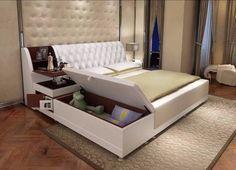Post modern реального натуральная кожа кровать/мягкая кровать/двуспальная кровать king/queen размер мебель для спальни с коробка для хранения и буфет