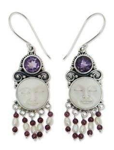 NOVICA MultiGem Garnet Cultured Freshwater Pearl Sterling Silver Bone Chandelier Earrings Dreams * Visit the image link more details. (This is an affiliate link) Amethyst Jewelry, Amethyst Earrings, Sterling Silver Earrings, Diamond Jewelry, Crown Earrings, Chandelier Earrings, Pearl Earrings, Garnet, Pendant Necklace