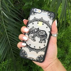Black Decorative Elephant Phone Case