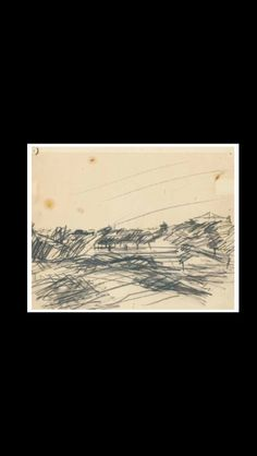 . Frank Auerbach - Primrose Hill - Black crayon and oil on paper - 24,1 x 30 cm