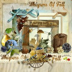 A beautiful Fall themed free mini kit designed to coordinate with the Whispers of Fall scrapbook kit from Raspberry Road.