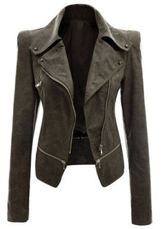 Fashionable Turn-Down Collar Zippered Long Sleeve PU Leather Jacket For Women Jackets | RoseGal.com Mobile