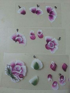 . One Stroke Painting, Acrylic Painting Tutorials, Tole Painting, Fabric Painting, Uñas One Stroke, One Stroke Nails, Nails First, Flower Nail Art, Learn To Paint