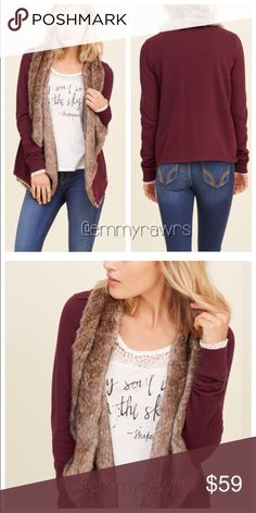 Last 1•  CHARLENE Sherpa Lined Burgundy Cardigan •• Only SMALL and MEDIUM are available •• Super soft Sherpa lined cardigan. Features a cascade opening and banded cuffs. Can be dressed up or down! Super versatile! Material: faux fur - 65% acrylic, 35% polyester. Rest of cardigan is 60% cotton, 40% polyester. Fits true to size. AVAILABLE SIZES • Small, Medium , Large Tops